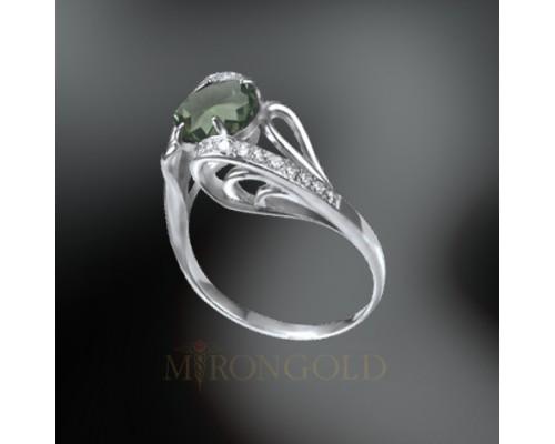 Damenring, Silber 925, Amethyst grün