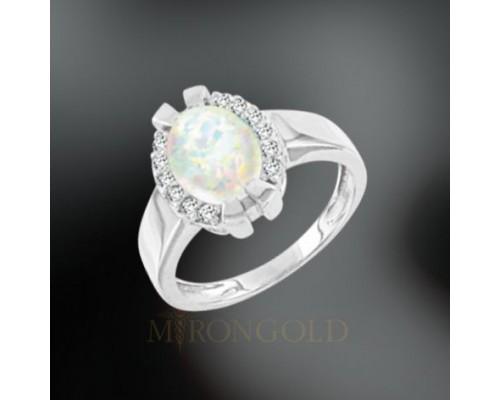 Damenring, Silber 925, Opal und Zirkonia